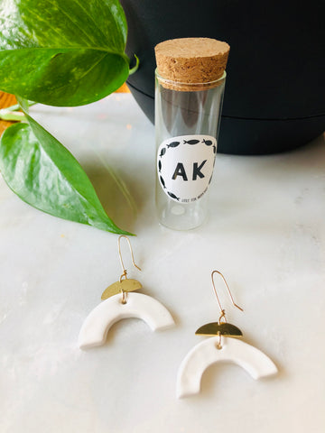 Ceramic White & Brass Half Moon Earrings