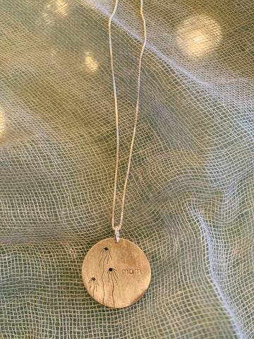Cut Flower Mom Sterling Disc Necklace