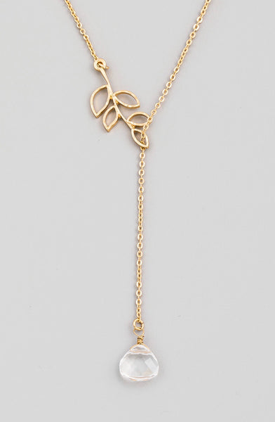 Dainty Chain Leaf Lariat Necklace