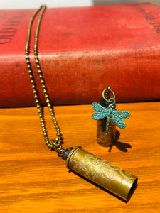 Bullet Casing Hand Acid Etched Dragonfly Necklace