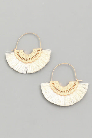Tassel Drop Fan Hoop Earrings Ivory