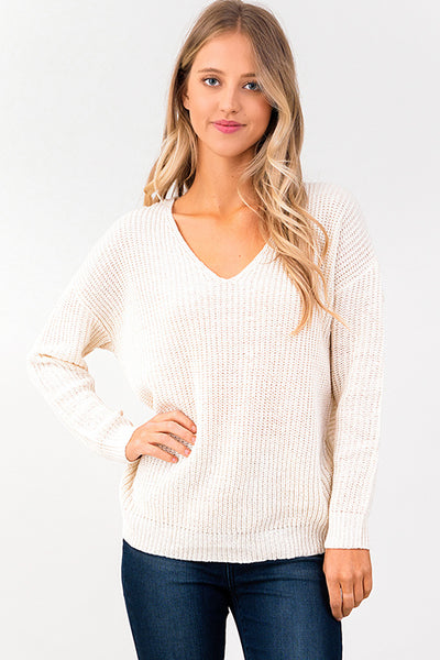 Ivory Twist Back Sweater