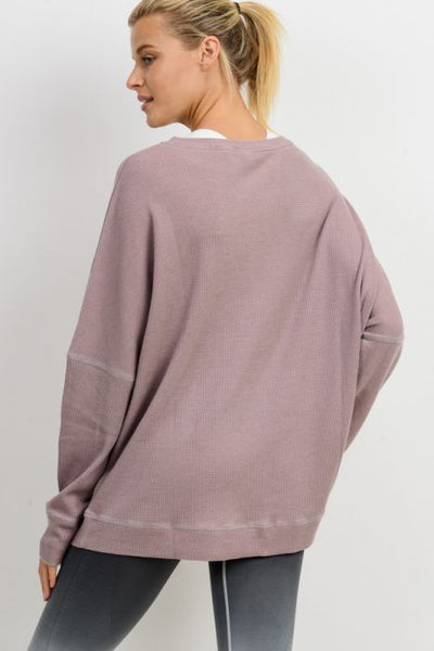 Waffle Ribbed Round Neck Top in Mauve