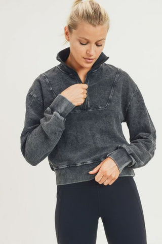 Half-Zip Jacquard Mineral-Wash Pullover