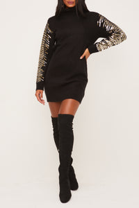 Sequin Embroidered Sleeve Sweater Dress