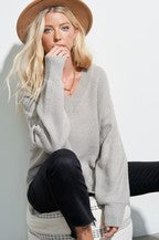 Waffle Knit Sweater Light Grey