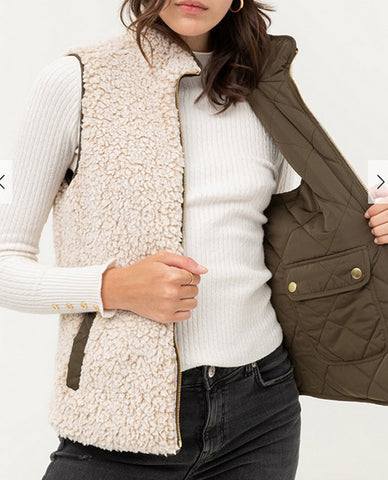 Olive/ White Reversible Quilted Sleeveless Padded Vest
