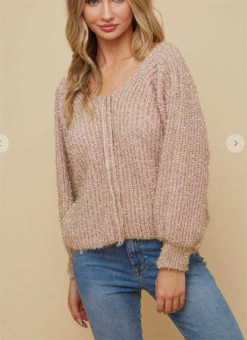 Gold & Blush Lurex Sweater w/ Puff Sleeve