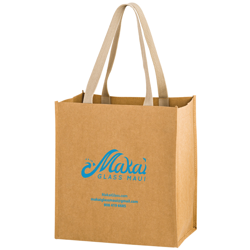 Washable Kraft Paper Grocery Tote Bag - FlywheelPromotions.com