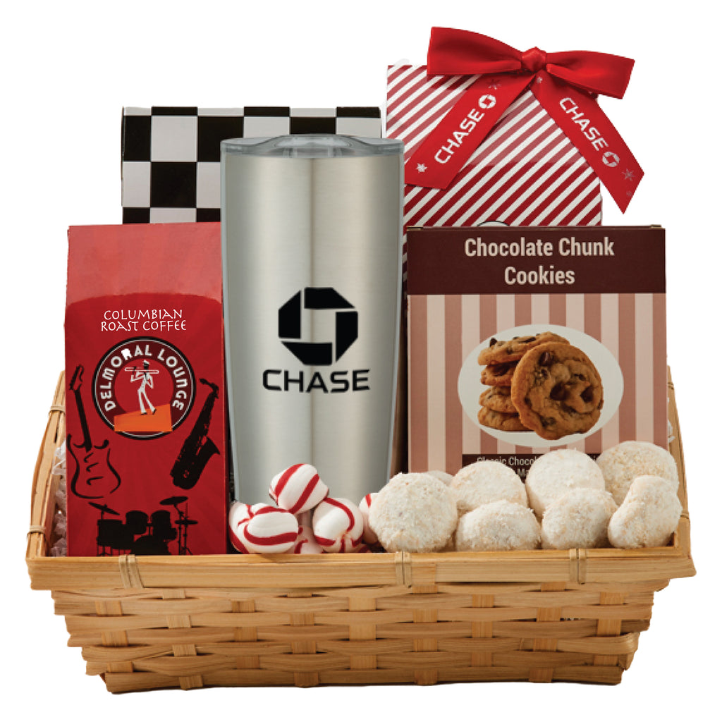 Coffee & Cookie Basket with 20 oz. Stainless Steel Tumbler