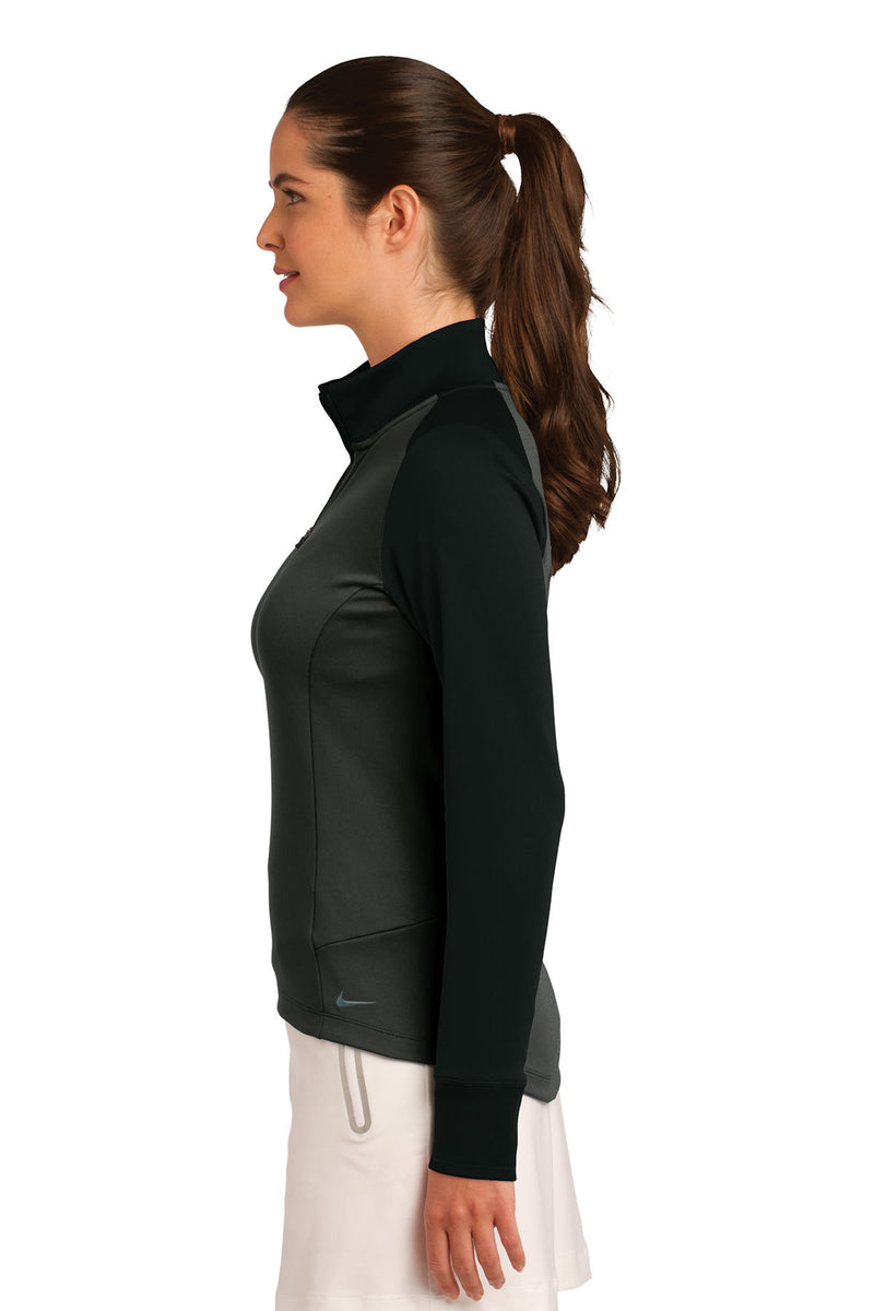 Nike Ladies Dri-FIT 1/2-Zip Cover-Up_Anthracite Heather/Black