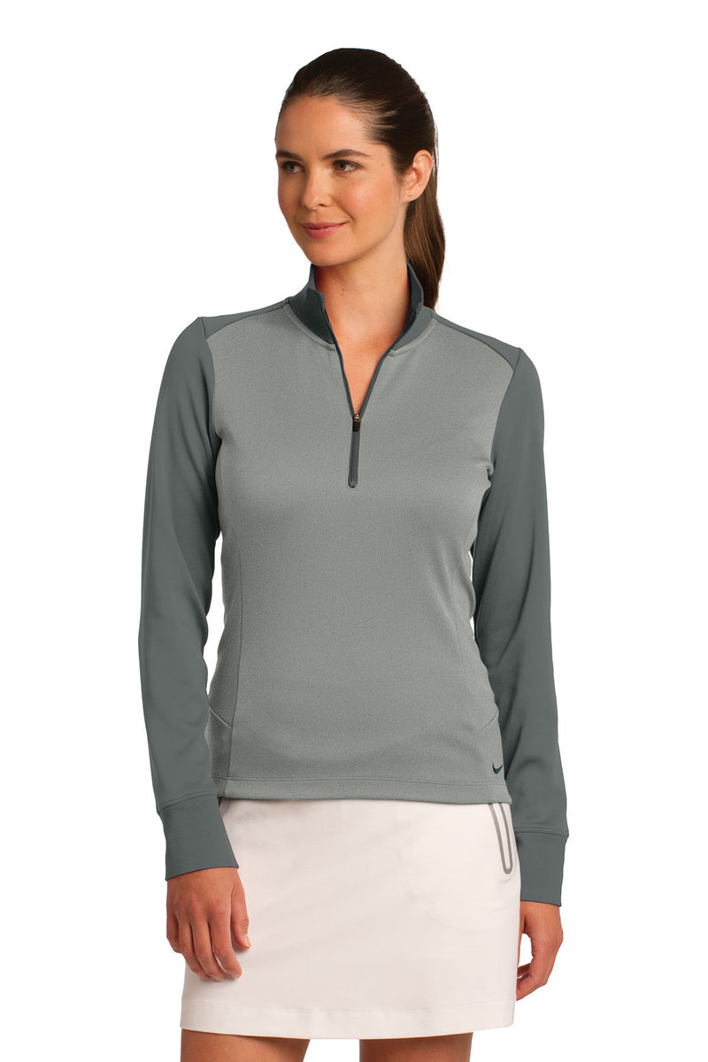 Nike Ladies Dri-FIT 1/2-Zip Cover-Up_Atheltic Grey Heather/Dark Grey
