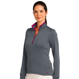 Nike Ladies Dri-FIT 1/2-Zip Cover-Up_Dark Grey/Sport Fuchsia