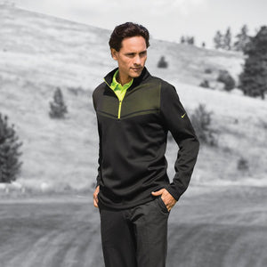 Nike Therma-FIT Hypervis 1/2-Zip Cover-Up_Black/Chartreuse