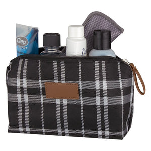 Soho Tartan Cosmetic Bag - Black and White