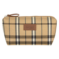 Soho Tartan Cosmetic Bag - Tan and Black
