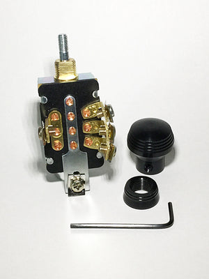 3 Position Headlamp Switch with Anodized Black Art Deco Style Knob and Bezel