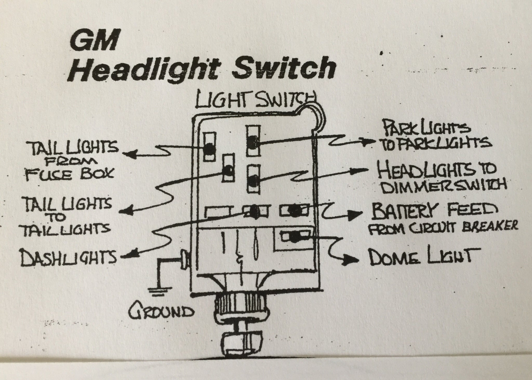GM style Headlamp Switch with Polished Art Deco Knob & Bezel