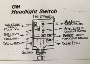 GM style Headlamp Switch with Polished Knurled Knob and Art Deco Bezel