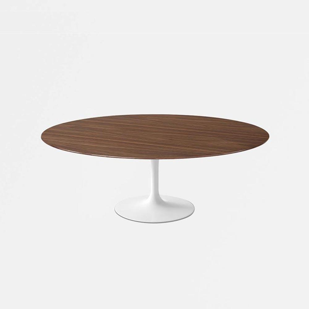 Dark Walnut Wood Tulip Dining Table - Oval