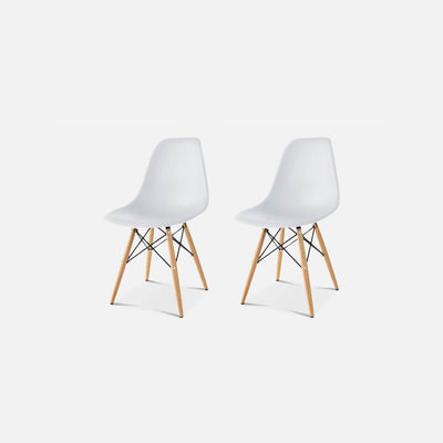 Set of Two DSW Molded Plastic Side Chair Wooden Dowel Base