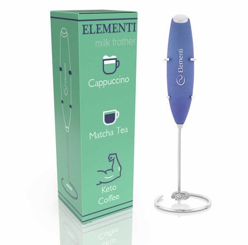 Elementi Premier Milk Frother with Stand (Blue)