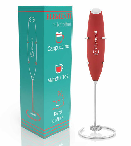 Elementi Premier Milk Frother with Stand (Red)