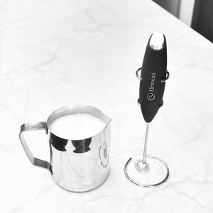 Elementi Premier Milk Frother with Stand (Black)