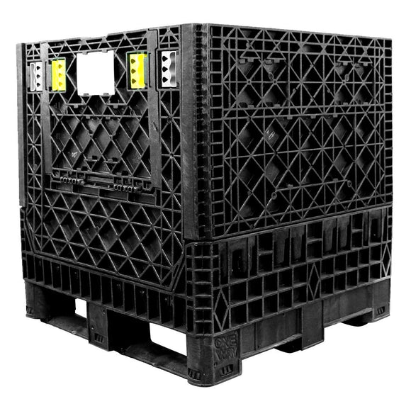 30 x 32 x 25 Collapsible Container Bin - Triple Diamond Plastics TDP-3230-25 OWS CP-S-32-C-25 Repose Top