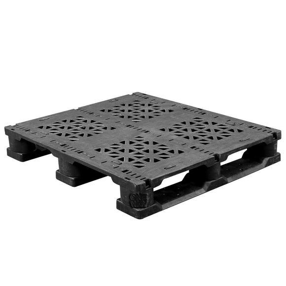 32 x 37 Fire Retardant Rackable Plastic Pallet - Greystone GS.37.32.3RO OWS PP-O-3237-R-FR Repose Top