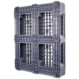 40 x 48 Rackable Plastic FDA Pallet - Grey - Polymer Solutions DLR OWS PP-O-40-R7FDA-Grey Standing 3-4 Bottom