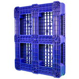 40 x 48 Rackable Ventilated Plastic Pallet - Blue - Polymer Solutions DLR Blue OWS PP-O-40-R7FM-Blue Standing 3-4 Bottom