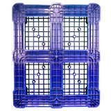 40 x 48 Rackable Ventilated Plastic Pallet - Blue - Polymer Solutions DLR Blue OWS PP-O-40-R7FM-Blue Standing Bottom HeadOn