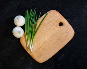 Overhead image of a Large Rectangular Birdseye Maple cutting and serving board