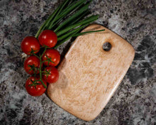 Overhead image of a Small Rectangular Birdseye Maple cutting and serving board