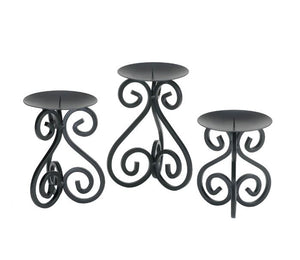 Scrollwork Candle Holder Stand Trio Black Wrought Iron Table Shelf Home Accent 10015838
