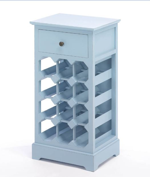 Somerset Blue Wine Cabinet Storage Side Table Wall Space 12 Bottles Home Decor Accent