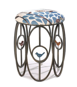Free As A Bird Stool Sturdy  Strong Vanity Vase Seat Metal Iron Home Decor Accent