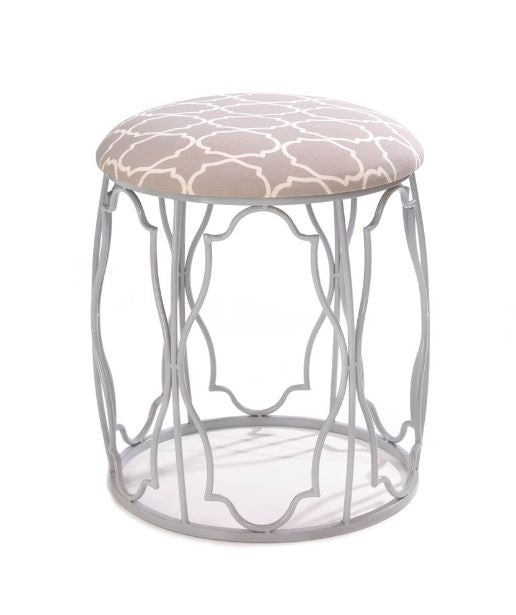 Moroccan Wish Stool Beige Tone Metal Framework Exotic Geometric Pattern Wall Home Accent