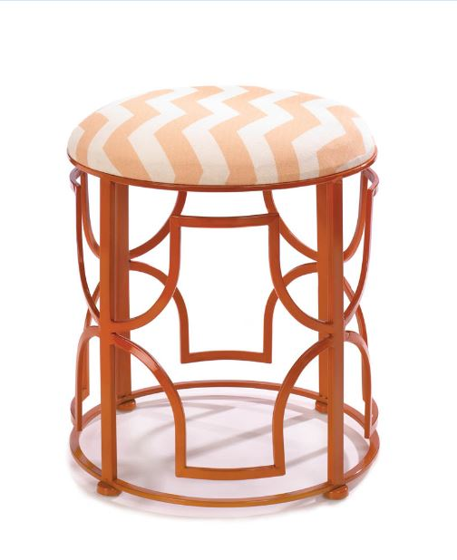 Chic Chevron Stool Open Iron Work Geometric Sturdy Strong Wall Home Decor Accent