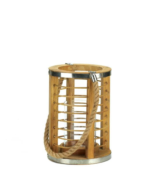 Wooden Strand Candle Lantern Lamp Patio Garden Unique Pillar Tea Lights Home Decor Accent