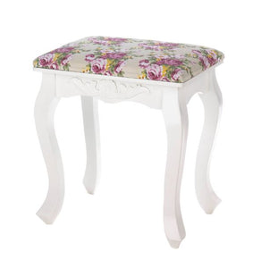Floral Oasis Vanity Stool Seat Sturdy Strong Shabby Chic Flowers Legs Roses Home Wall