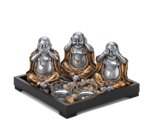 See No Evil Buddha Candle Garden Tea Light Votive Figurine Stones Meditation Calming Home Accent