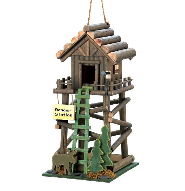 Ranger Station Wooden Birdhouse Rustic Log Cabin Yard Patio Hanging Vase Pine Trees Home Accent
