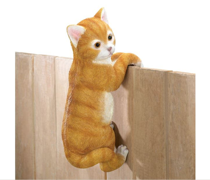 Climbing Tabby Cat Animal Lifelike  Decor Hanging Fence Decor Sale  Home Decor Accent