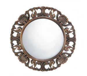 Heirloom Round Wall Mirror Bronze Open Carved Frame Shells Floral Designs Wall Art Home Accent