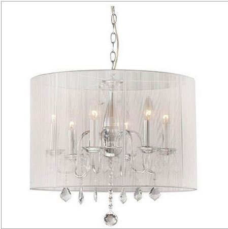 Chrome Sheer Cream Shade Crystal Chandelier