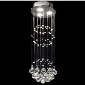 Modern Chrome Hanging Crystal Ball Chandelier