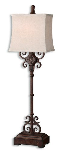 Cubero Brown Buffet Lamp Distressed Rust Brown Finish  Black Undertones by Uttermost
