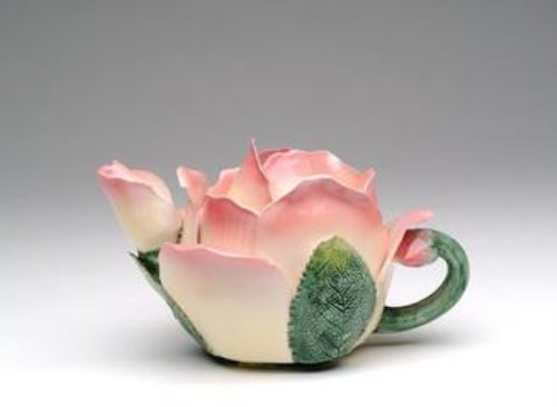 Pink White Rose Bud  Petal Shaped Teapot Green Leaf Handle Whimsical Fun Home Decor Accent